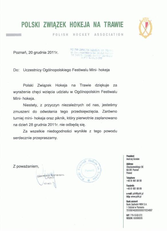 Pismo Sekretarza Cichego informujące o odwołaniu turnieju